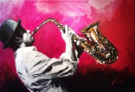 "Smooth-Jazz-Night, Trumpet-Solo,Medium: Original Acrylic on Canvas Canvas Size: 24"" x 36"" Artist: Shawn Mackey"