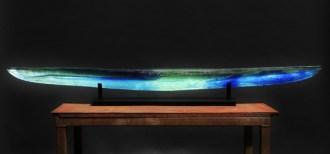 "Green Blue Bidarka, Medium: Sand Moulded Glass Size: 7"" x 80"" x 7"" Artist: Steven Maslach"