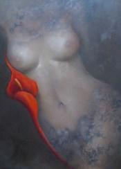 "Red Lily Muse, Medium: Oil on Panel Size: 18"" x 24"" #15509 Artist: Victoria Montesinos"