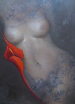 "Red Lily Muse, Medium: Oil on Panel Size: 18"" x 24"" #15509 Artist: Victoria Montesinos"