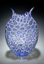 """Cobalt-Foglio, Medium: Hand-Blown Glass Size: 21"""" x 13.5"""" x 4"""" Artist: David Patchen"""