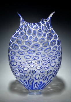 "Cobalt-Foglio, Medium: Hand-Blown Glass Size: 21"" x 13.5"" x 4"" Artist: David Patchen"