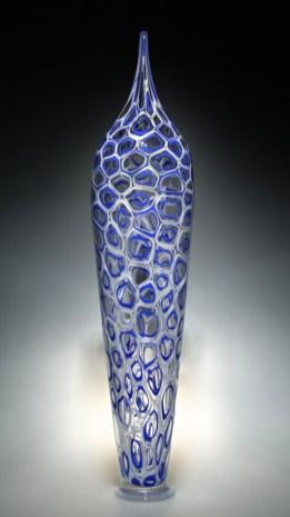 """Cobalt-Parabola-Tall, Medium: Hand-Blown Glass Size: 29.5"""" x 13.5"""" x 4.5"""" Artist: David Patchen"""