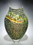 "Lime-Green-Purple-Foglio, Medium: Hand-Blown Glass Size: 21.5"" x 13.5"" x 4"" Artist: David Patchen"