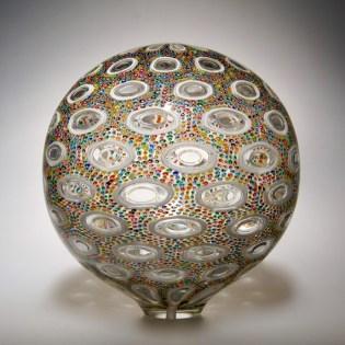 "Multi-Color-Sphere, Medium: Hand-Blown Glass Size: 11"" x 10"" x 10"" Artist: David Patchen #20190"