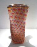 "Gold-Ruby-Reptile-Bag-Vase, Medium: Glass Canvas Size: 16"" x 7"" x 7"" Artist: Tom Philabaum"