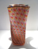 "Gold-Ruby-Reptile-Bag-Vase, Medium: Glass Canvas Size: 16"" x 7"" x 7"" Artist: Tom Philabaum"