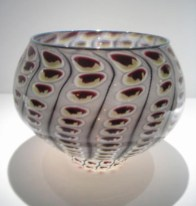 """Gold and Ruby Reptile Bowl, Medium: Glass Size: 10"""" x 8.5"""" Artist: Tom Philabaum #19505 Price: $750.00 REDUCED: $395.00"""