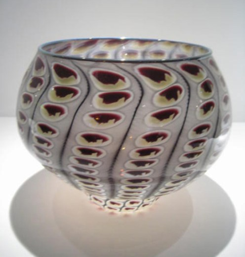 "Reptile-Footed-Bowl, Medium: Glass Canvas Size: 10"" x 8.5"" Artist: Tom Philabaum"