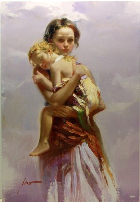 "First-Child, Medium: Hand Embellished Giclee Size: 30"" x 20"" Artist: Pino"