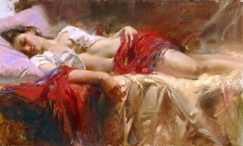 "Restful, Medium: Hand Embellished Giclee Size: 24"" x 40"" Artist: Pino Price: $5,400.00 REDUCED: $2,700.00"