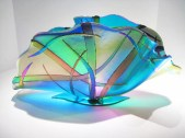 "Living-Sea-Dichroic-Sculpture, Medium: Glass Size: 10"" x 20"" x 10"" Artist: Gina Poppe"