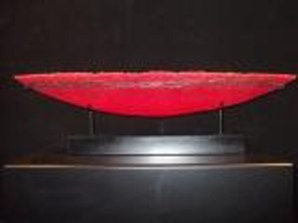 "Sunset-Boat-Red, Medium: Pate de Verre Glass & Metal Size: 12"" x 36"" x 6"" Artist: Patty Roberts"