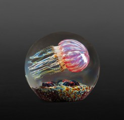This particular jellyfish sculpture has a beautiful translucent fuchsia ribbed dome. Under the dome is a brown and gold band with an array of colorful tendrils descending from within. This design has the Jellyfish floating over a beautiful seascape bottom covered with algae and amazingly detailed sea anemones. Medium: Blown Glass Size: Artist: Richard Satava
