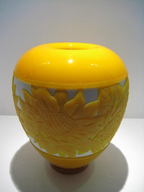 "Sunflower-Vase, Medium: Glass Canvas Size: 10"" x 8"" Artist: Valerie Surjan"