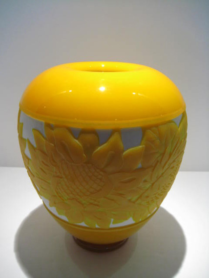 "Sunflower-Vase, Medium: Glass Size: 10"" x 8"" Artist: Valerie Surjan Price: $3,500.00 REDUCED: $2,500.00"