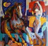"Breakaway, Medium: Original Acrylic on Canvas Size: 60"" x 60"" #19167 Artist: Tadeo De La Barra"