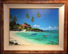 "Old Style Beach House 20"" x 24"" F 25"" x 31"" #20866 Original Oil on Canvas"