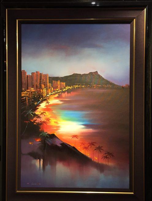 Waikiki Diamond Head 36x24 F 44.5x32.25#20863 Original Oil