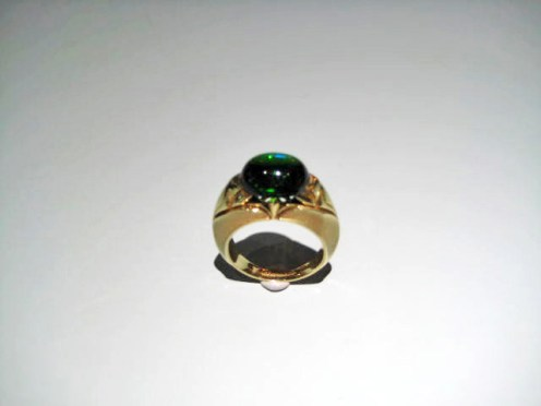 18K Gold Ring with Green Tourmaline Artist: Robilotti Catalog: 603-52-6