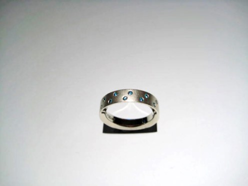 14K White Gold Ring with .20c Blue Diamond Artist: Cornelis Hollander Catalog: 235-84-4