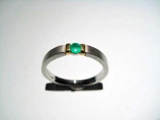 Platinum Ring with Emerald Artist: Rodolph Erdel Catalog: 800-32-1