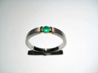 Platinum Ring with Emerald Artist: Rodolph Erdel Catalog: 800-32-1