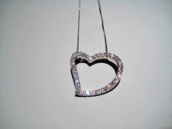 14K White Gold and Diamond Heart Pendant with Chain Artist: Vincent Catalog: 896-43-6