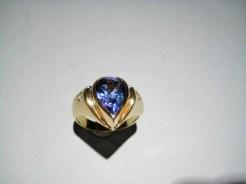 18K Gold Ring with .53c Diamond and 4.76c Tanzanite Artist: Bruce Tapley Catalog: 210-44-9