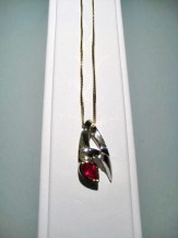 14K Y&W Gold Pendant and Chain with .50c Ruby and .04c Diamond Artist: Frank Catalog: 900-11-4