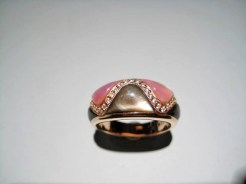 14K Pink Gold Ring with Pink and Black Mother of Pearl and .17c Diamond Artist: Kabana Stavros Catalog: 900-40-4