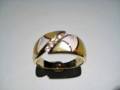 14K Gold Ring with Pink and White Mother of Pearl and .14c Diamond Artist: Kabana Stavros Catalog: 896-89-9