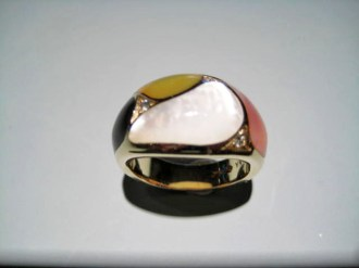 14K Gold Ring with Multi-Color Mother of Pearl and .08c Diamond Artist: Kabana Stavros Catalog: 902-18-2 #19054 Price: $2,500.00 REDUCED: $1,200.00