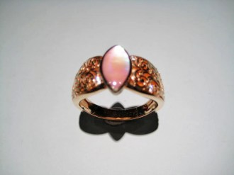 14K Pink Gold Ring with Pink Mother of Pearl and .09c Diamond Artist: Kabana Stavros Catalog: 900-42-0