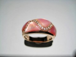 14K Pink Gold Ring with Pink Mother of Pearl and Diamond Artist: Kabana Stavros Catalog: 900-40-41