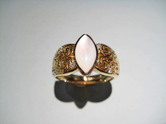 14K Gold Ring with White Mother of Pearl and .09c Diamond Artist: Kabana Stavros Catalog: 900-38-1