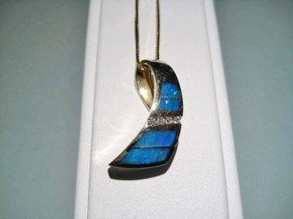 14K Gold Pendant and Chain with Opal and Diamond Artist: John Bagley Catalog: 800-13-1