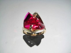 14K Gold Ring with Cultured Ruby Artist: Strellman Catalog: 398-11-0