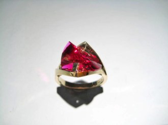 14K Gold Ring with Cultured Ruby Artist: Strellman Catalog: 603-64-0