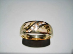 14K Gold Ring with Gold Quartz and .21c Diamond Artist: Ficher Catalog: 602-95-4