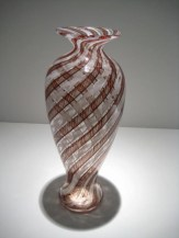 Black, White, and Red Cane Vase Artist: David Lindsey Catalog: 897-06-21