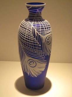 Cobalt and White Cameo Peacock Vase Artist: Kellsey Murphy Catalog: 800-61-9