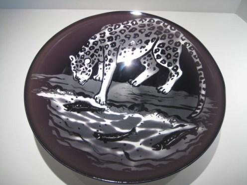 Black Leopard Fishing Bowl Artist: Oslo Catalog: 559-21-2 #19601 Price: $950.00 REDUCED: $495.00