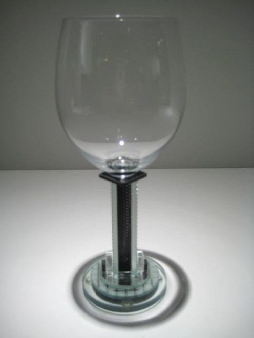Round Base Clear and Black Goblet Artist: George Ponzini Catalog: 509-94-11