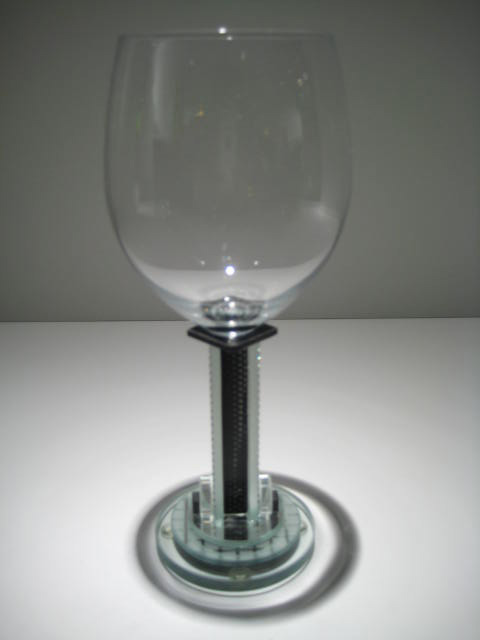 Round Base Clear and Black Goblet Artist: George Ponzini Catalog: 509-94-11 #19624 Price: $95.00 REDUCED: $50.00