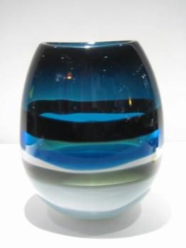 Blue Six-Banded U Vase Artist: Calob Siemon Catalog: 902-07-9 #19459 Price: $1,200.00 REDUCED; $750.00