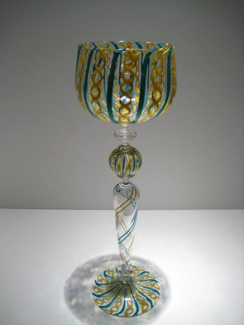 Latticino Hand Blown Yellow Glass Goblet Artist Charles Correl #19618 Price: $800.00 REDUCED: $650.00