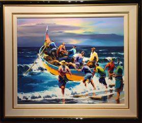 Portuguese Fisherman Original Oil 29x36 unframed Framed 44 x 51 Artist: Jequel