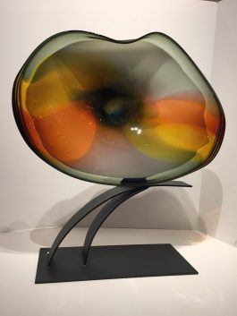 Aerial Volo Coral Gold Topaz Pine Hand-Blown Glass with Metal Artist: Nicholson 30 x 24 x 10'' #20089