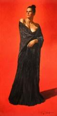 Black Roses Original Oil on Panel 40x20,F51.25x31.25x1.75 #20356